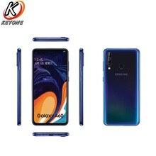 "هاتف سامسونج جلاكسي A60 LTE هاتف محمول 6.3 ""6G RAM 128GB ROM سنابدراجون 675 ثماني النواة 32.0MP + 8MP + 5MP هاتف خلوي بكاميرا خلفية"