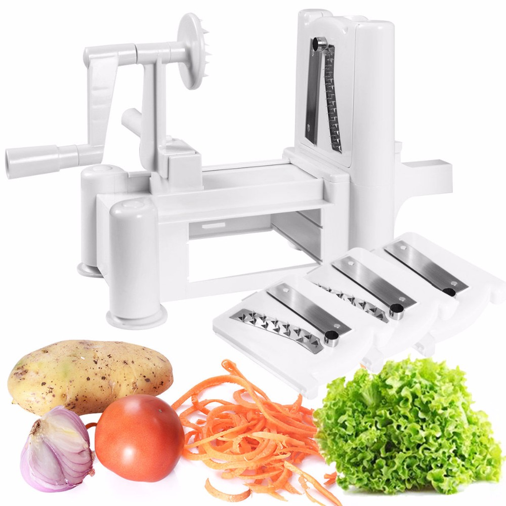 3 In 1 Spiral Vegetable Cutter Slicer Hand Held Kitchen Slicer Dicer ...