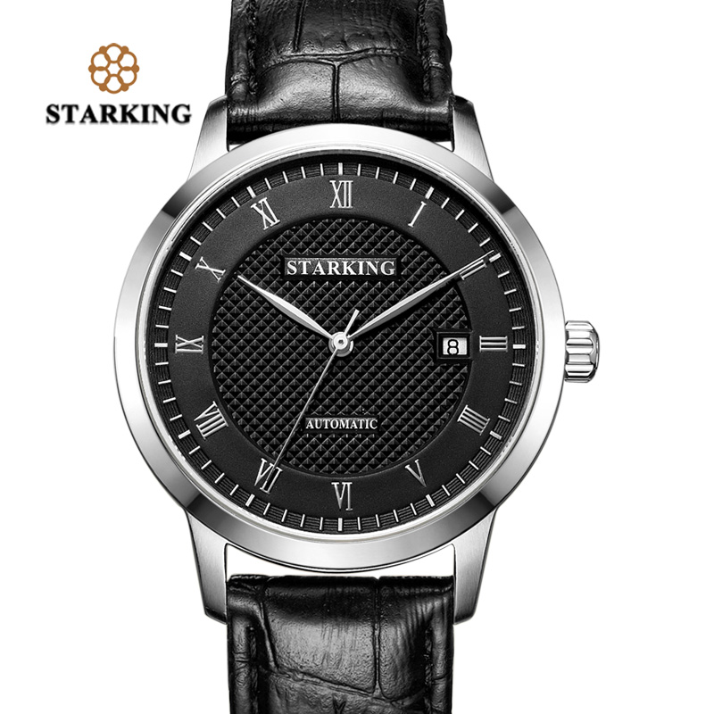 STARKING Business Watch Men Automatic Full Stainless Steel Roman Dial 28800 Beats Mechanical Wristwatch Relogio Masculino AM0187