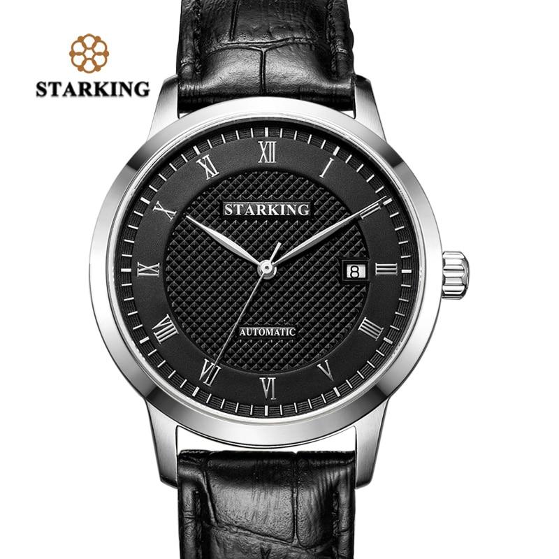 STARKING Business Watch Men Automatic Full Stainless Steel Roman Dial 28800 Beats Mechanical Wristwatch Relogio Masculino AM0187