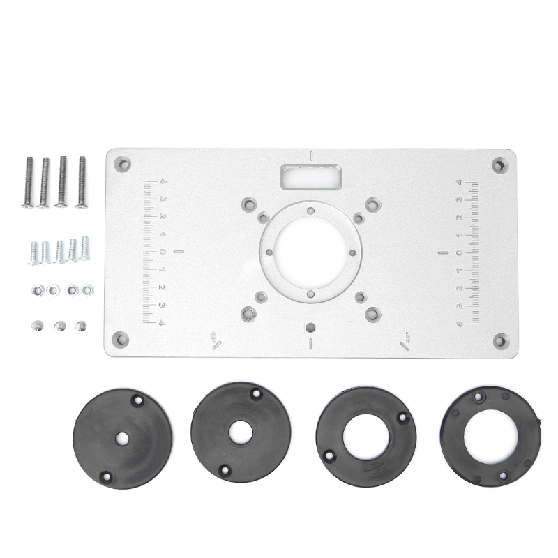 1 Set Router Table Insert Plate 700C Aluminum Router Table Insert Plate + 4 Rings Screws For Woodworking Benches