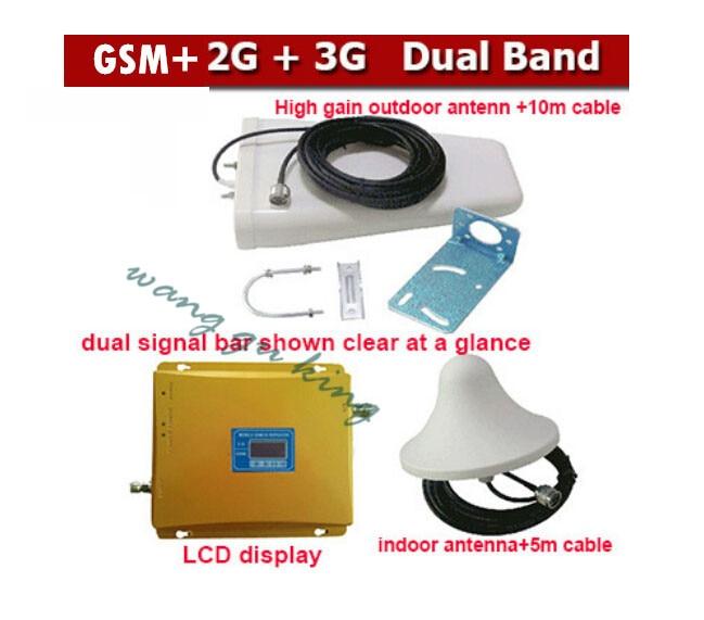 LED double bande 2G 3G GSM double bande amplificateur de signal GSM 900 mhz 3G 2100 mhz amplificateur de répéteur de Signal de téléphone portable 1 ensemble