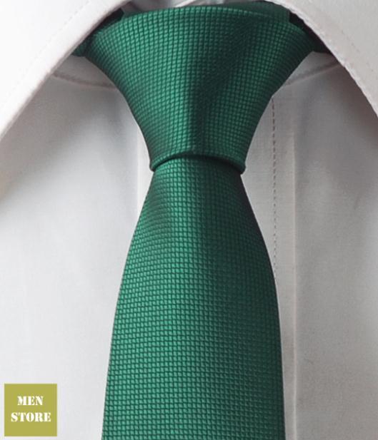 Green Solid Plain Men Jacquard Woven Skinny Slim Narrow 2.5