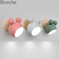 Nordic Mickey Wall Lamp Bedroom Modern Wood LED Wall Sconce Light Fixtures for Children's Room Kitchen Home Loft Decor Luminaire