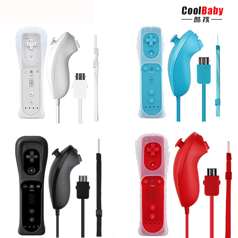 ViGRAND 2018 new 1set 2 in 1 Remote Nunchuck Controller with Built in Motion Plus for Nintend Wii Controller Gamepad