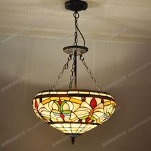 European style retro nostalgia anti chandelier bar down Tiffany lamps living room bedroom color ornaments