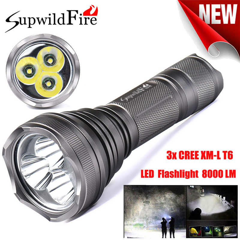 SupwildFire 8000Lm 3x XM-L T6 LED 5-Mode 26650 Flashlight Torch Light Lamp powerful led flashlight by 18650 battery #3o5 8200 lumens flashlight 5 mode cree xm l t6 led flashlight zoomable focus torch by 1 18650 battery or 3 aaa battery