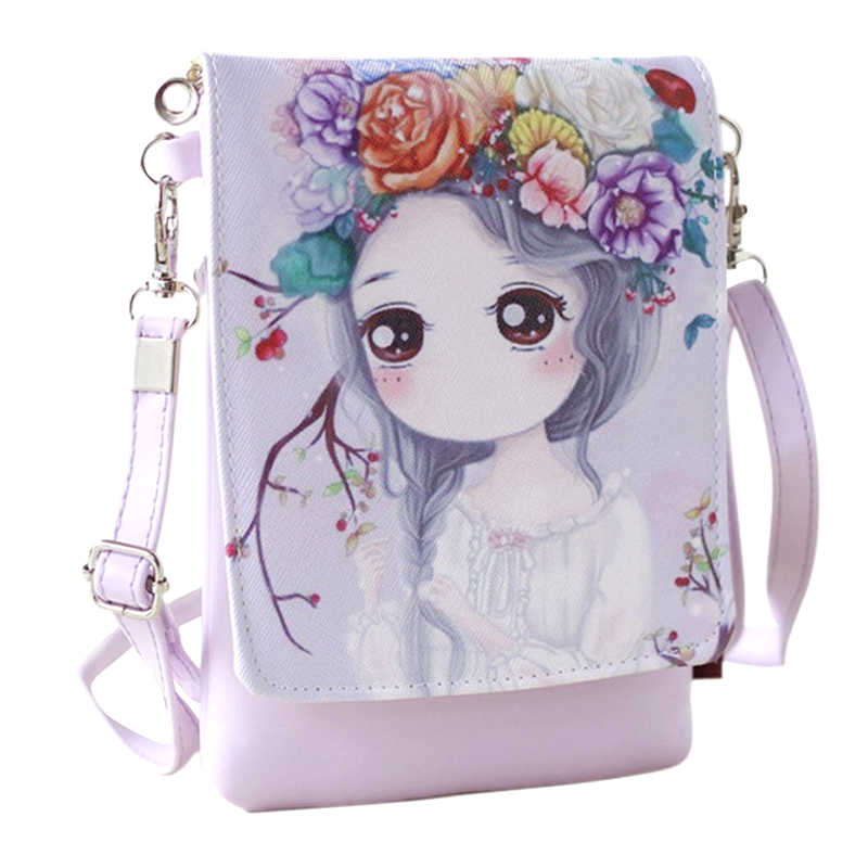2017 New Cartoon Print Women Messenger Bags PU Leather Female Shoulder Bags Purse and Handbags Girls Children Mini Crossbody Bag