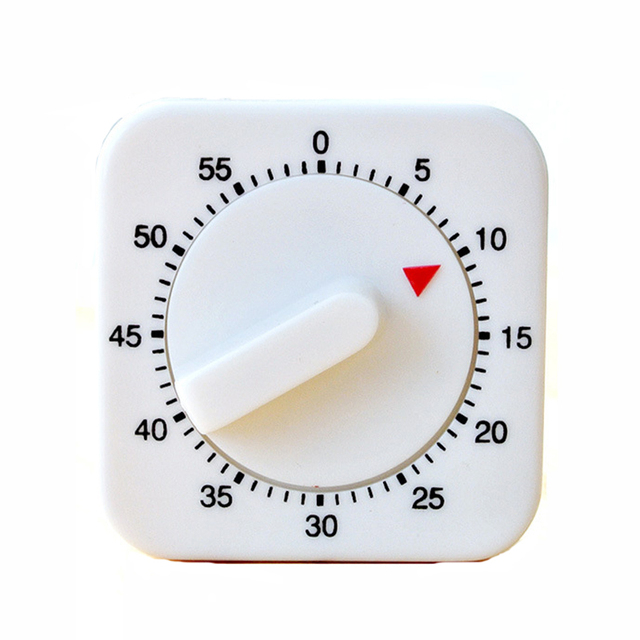 60 Minutes Mechanical Control Kitchen Timer Switch Time Relay Used Alarm Reminder White Square Household Cooking