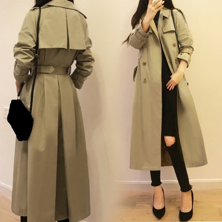 New Spring Autumn Turn-Down Collar Loose Coat Pockets Women Oversize Washed Long   Trench   Casual Double Breasted Khaki Outwear