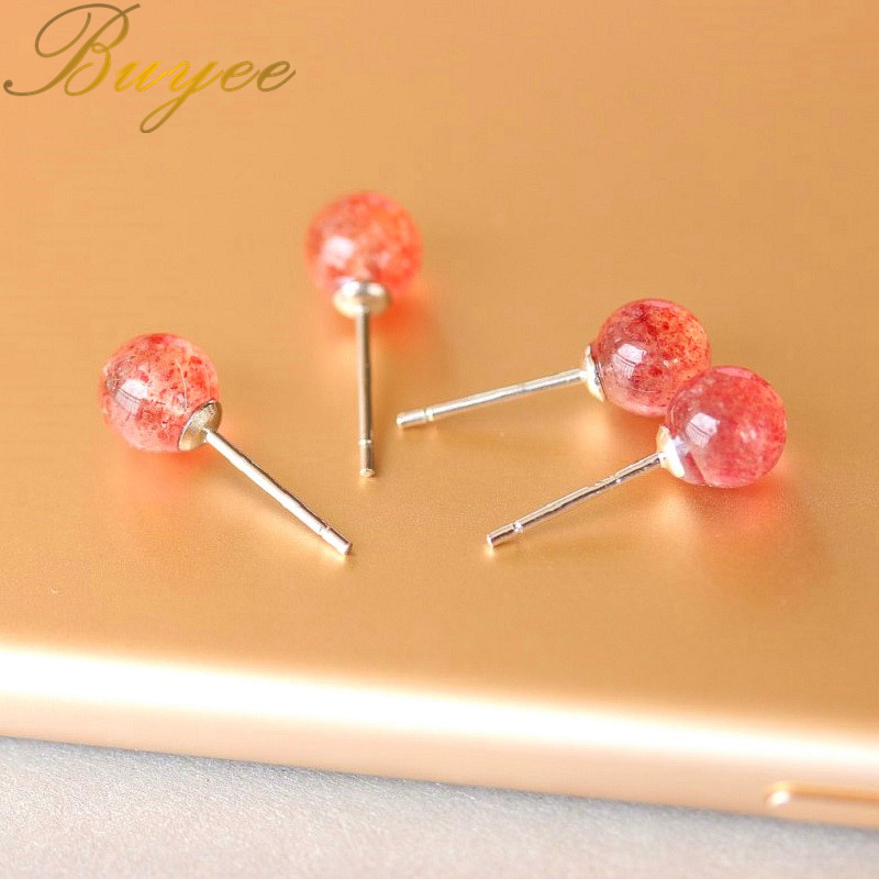 BUYEE New Design Jewelry Strawberry Crystal Earrings Fashion Women 6mm Beads Balls Earring Girl Party Simple Stud earrings