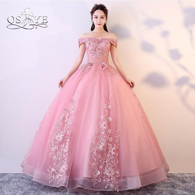 a3f7e496066 QSYYE 2018 Dusty Pink Long Prom Dresses Robe de Soiree Elegant Off Shoulder  3D Lace Flower Floor Length Tulle Evening Dress