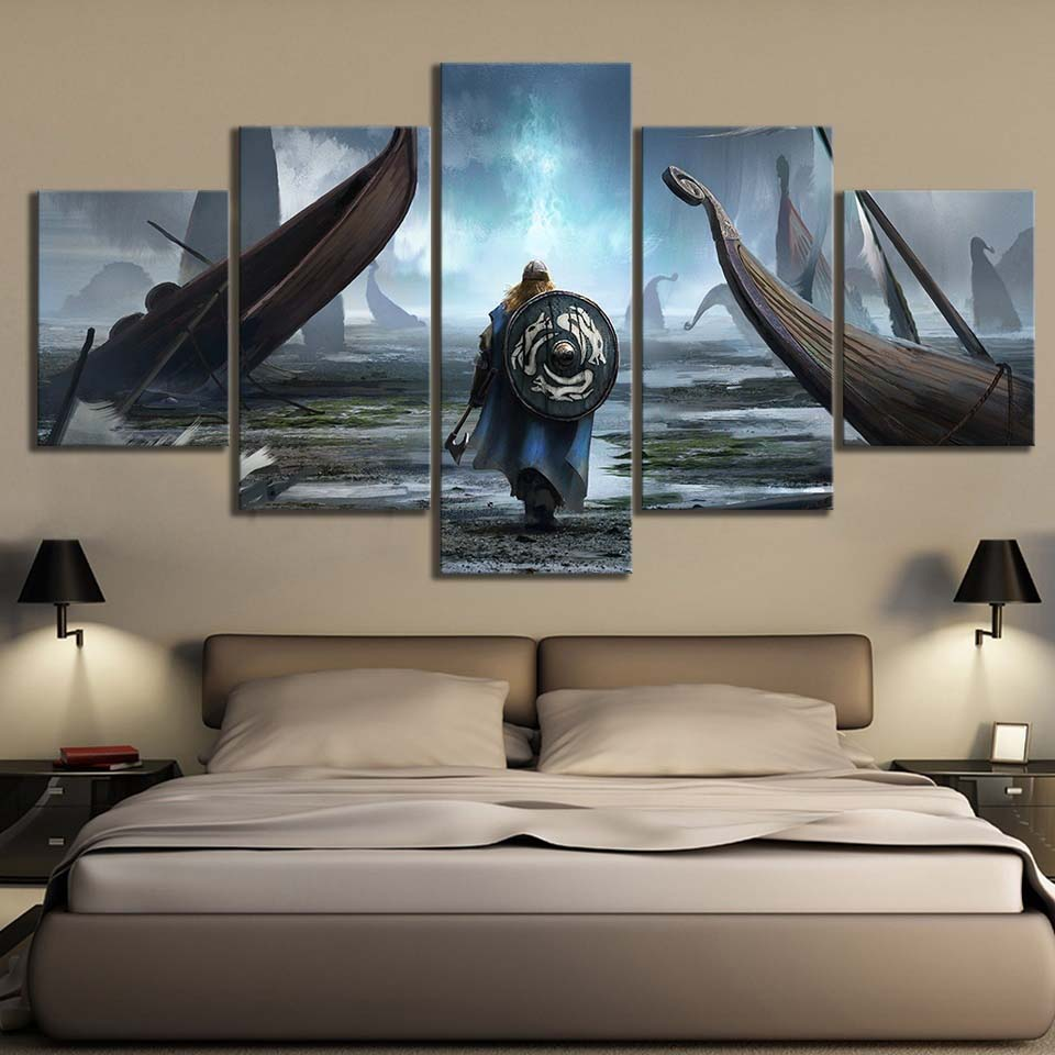 Canvas Painting Wall Art Modular Pictures 5 Pieces/Pcs Vikings Movie HD Printing Poster Home Decorative Modern Living Room Frame