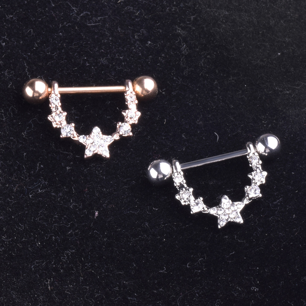 Hot Sale Five Pointed Star Ring Stainless Steel Nipple Rings Tongue Ring Piercing Body -4707
