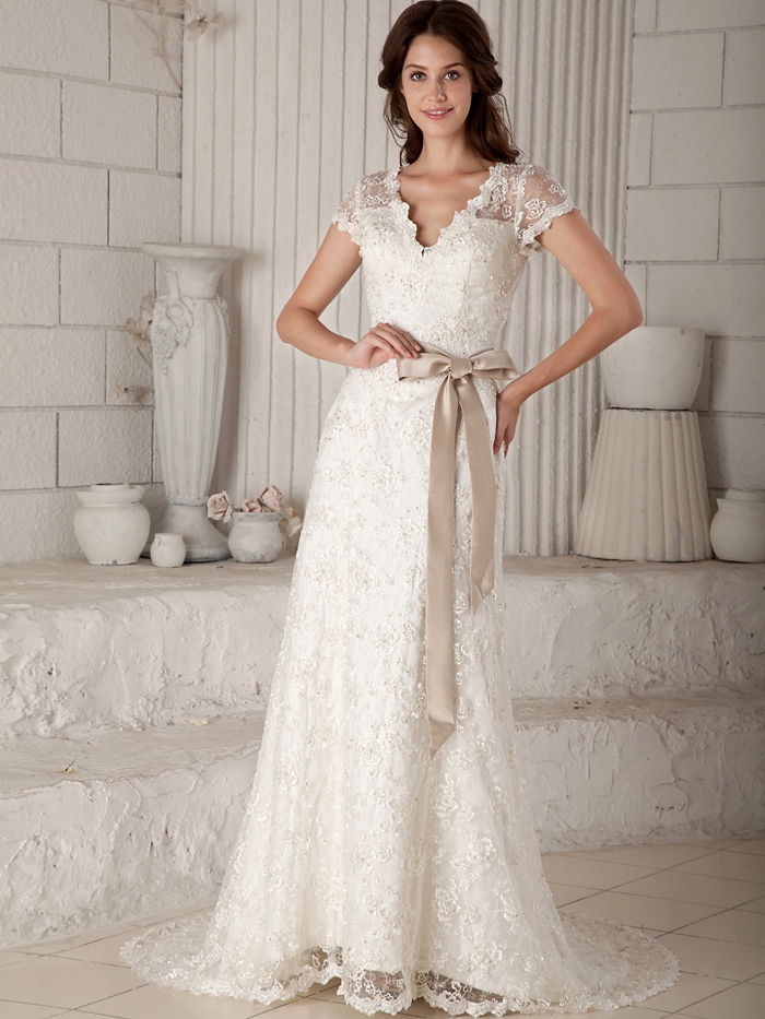 New Vintage Simple Lace Long Modest Wedding Dresses With Cap Sleeves V Neck Champagne Sash Colored Tea Length