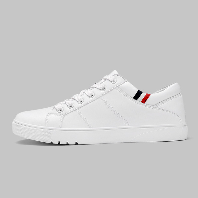 SUROM 2018 Spring New Men Casual Shoes Breathable Wear Resistant Shoes Comfortable Summer White Round Toe Lace up Flat Snekaers 1
