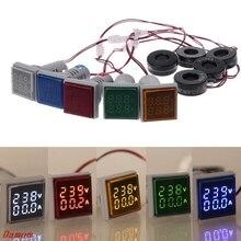 цена на Square LED Digital Voltmeter Ammeter 22mm Signal Lights Volt Voltage Ampere Current Meter Indicator Tester Measuring AC 60-500V