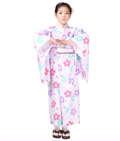 Japanese Style Baby Girls Kimono Dressing Gown Kid Cotton Yukata Children Stage Performance Dress Child Cosplay Costumes Floral