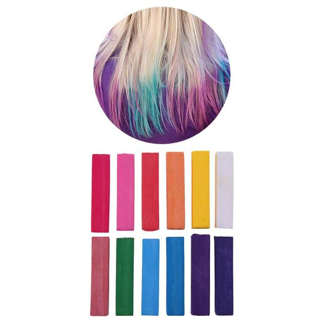 US $3.29 5% OFF|12 Colors Temporary Hair Coloring Chalk Quick Dye Pigment  Non Toxic Salon Home DIY Hair Fast Coloring Dyeing Pastel Chalks-in Hair ...