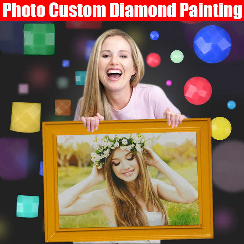 HOMFUN Foto Custom Diamond Lukisan 5D DIY Gambar Berlian Imitasi Diamond Bordir 3D Cross Stitch Dekorasi Rumah Pernikahan
