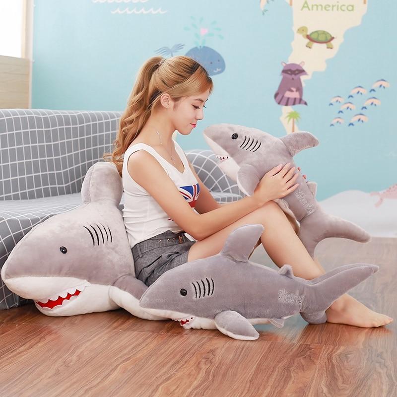 1pc 120cm-55cm Cute Shark Plush Toy Simulation Stuffed Animal of Soft Factory Supply Christmas gift on sale doll