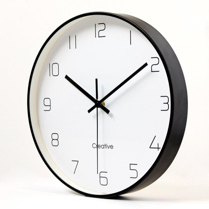 Nordic Art Mute Metal Wall Clock For Home Decor 12 Inch Modern Minimalist Wall Clocks Simple Decorative Metal Wall Watches