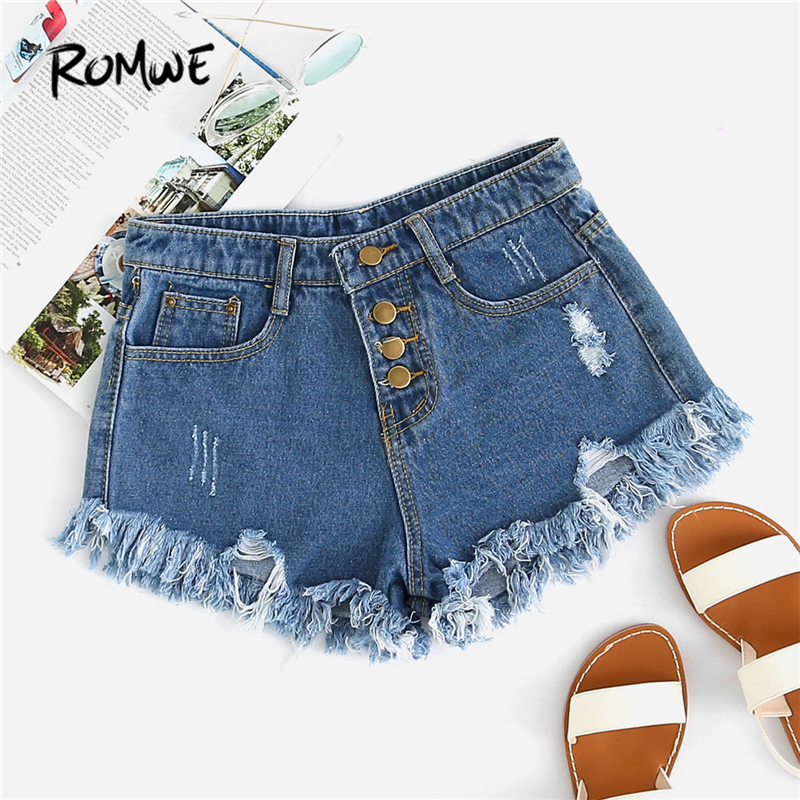 ROMWE Blue Distressed Fray Hem Denim   Shorts   Spring New Ripped Hem Mid Waist   Shorts   Women Button Fly Denim Plain   Shorts