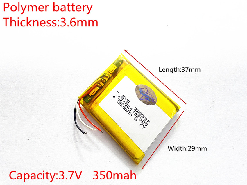 line 3 Polymer lithium ion battery 3.7 V, 362937 350mah can be customized wholesale CE FCC ROHS MSDS quality certification 10 pcs lot polymer lithium ion battery 3 7v 306070 can be customized wholesale ce fcc rohs msds quality certification 2000 mah