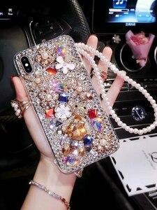 Image 3 - Luxo bling diamante caso de telefone para huawei honor 7x 7c 7a 8 9 10 lite 8x max 8a pro strass cristal capa fundas coque