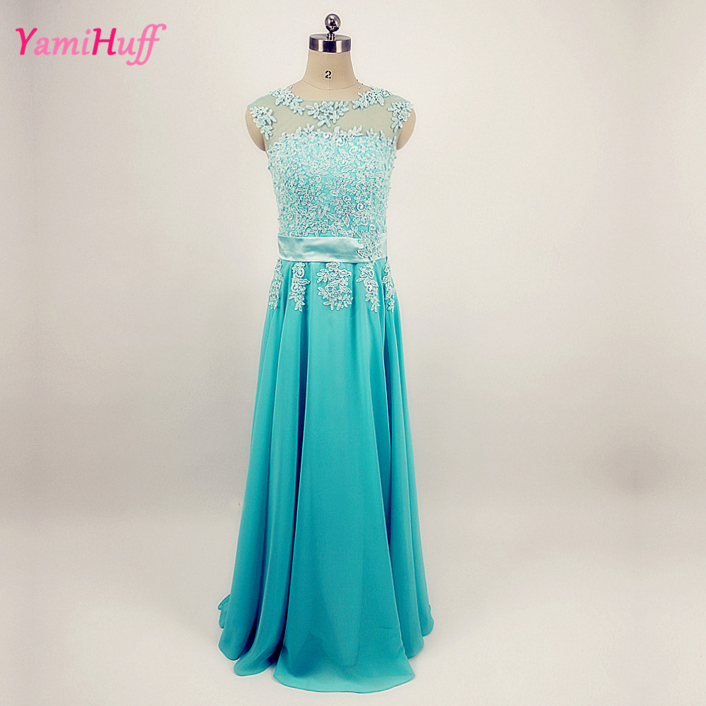 Turquoise Green Long Bridesmaid Dress Lace Plus Size For
