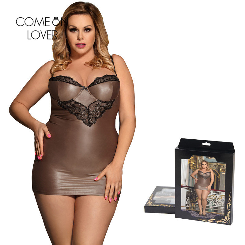 Comeonlover Women Sexy Night Dress 5XL Champagne Color Female   Sleepshirt   Tight Underwire Satin   Nightgown   Nuisette Sexy RT80278