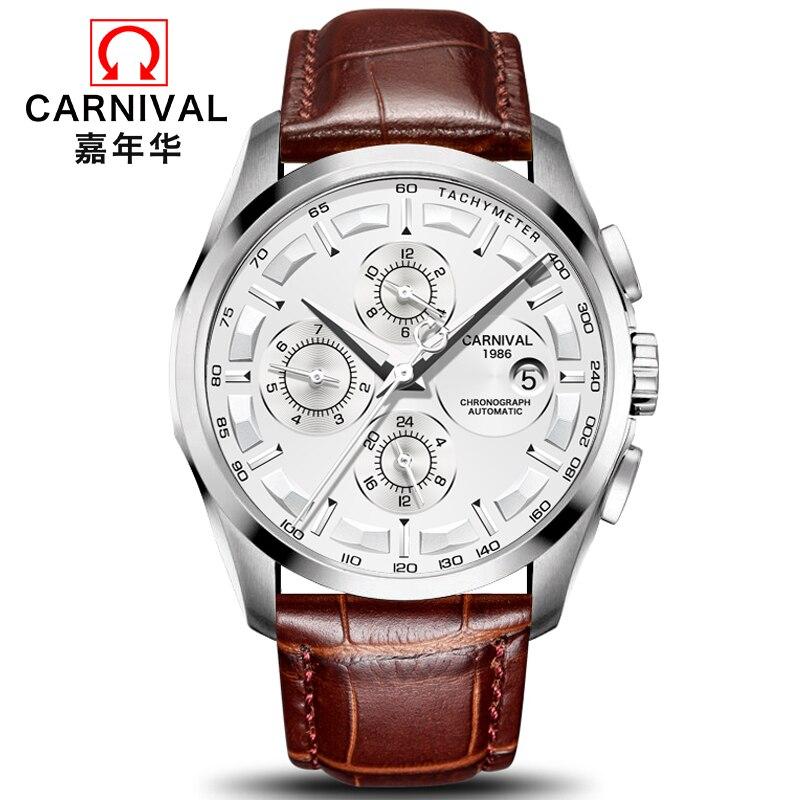 High end Automatic Watch Men CARNIVAL Multi function Mechanical Watches Waterproof Calendar Luminous Swiss brand Watch
