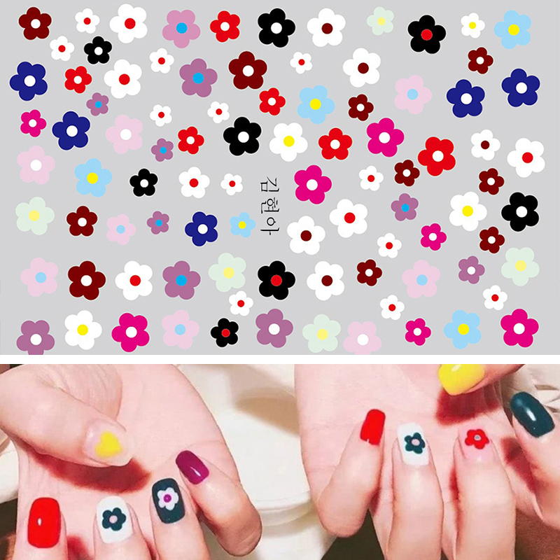 Nail Sticker Kim Hyun A Style Nail Decal Flower Strawberry Egg Spring and Summer Design Stickers Press on Nails Manicure (6)