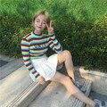 UNIF Осень Корейский цвет полосы вышивка письмо половина водолазки тонкая талия эластичный с длинными рукавами свитер