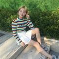 UNIF Outono Coreano cor stripe carta bordado meia gola alta elástico na cintura fina de manga comprida camisola
