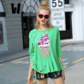 2017 women spring summer fashion streetwear casual cotton simple student t shirt thin Ice cream Sequin applique embroidery