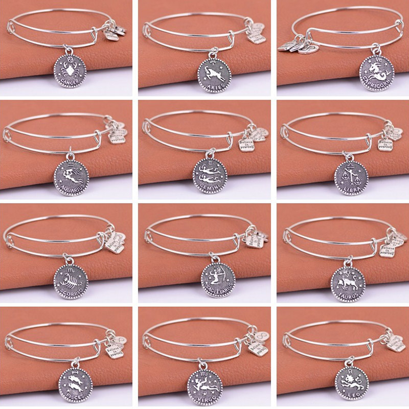 Silver Zodiac Charm Expandable Wire Wire Adjustable Constellation Infinite Love Charm Hari Jadi Hadiah Keluarga Dan Kawan
