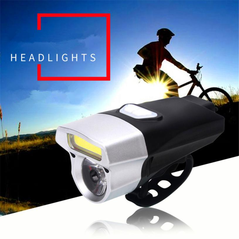 Cycling USB Rechargeable Bike Light Double Lamp Beads Handlebar Headlight Bicycle LED+COB 18650 Waterproof High Bright P30