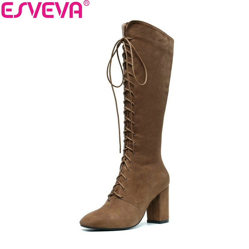 ESVEVA 2019 Women Boots Zipper Winter Shoes Short Plush Knee-high Boots Square Toe Square High Heels PU Boots Woman Size 34-39 esveva 2018 women boots zippers black short plush pu lining pointed toe square high heels ankle boots ladies shoes size 34 39 page 5
