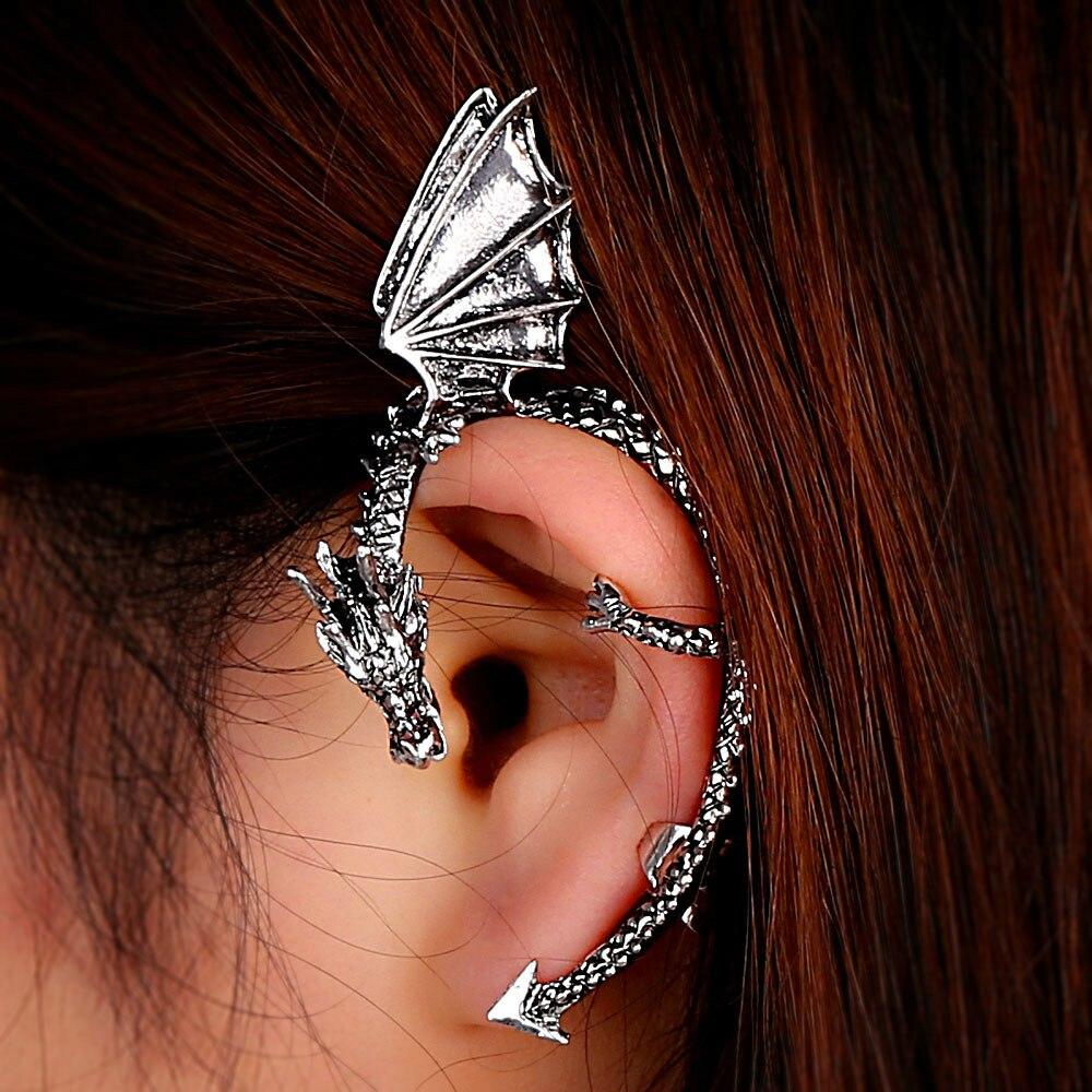 Retro Vintage Gothic Rock Punk Twine Dragon Shape Ear Cuff Clip Earring Earrings for Women Men Drop Earrings figurine