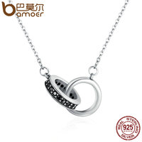 BAMOER Authentic 925 Sterling Silver Circle In Circle Black CZ Pendant Necklaces For Women Sterling Silver