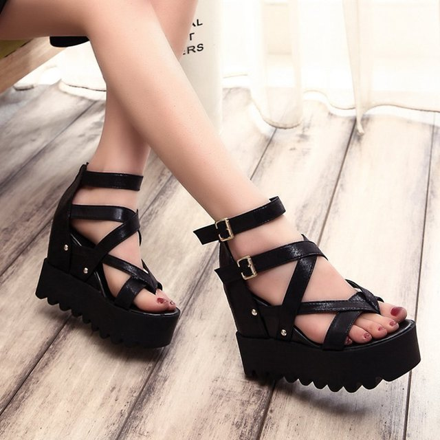 16f797d13b63 2018 summer ladies high-heeled sandals cross with fish mouth thick platform  wedge waterproof platform sandals female.