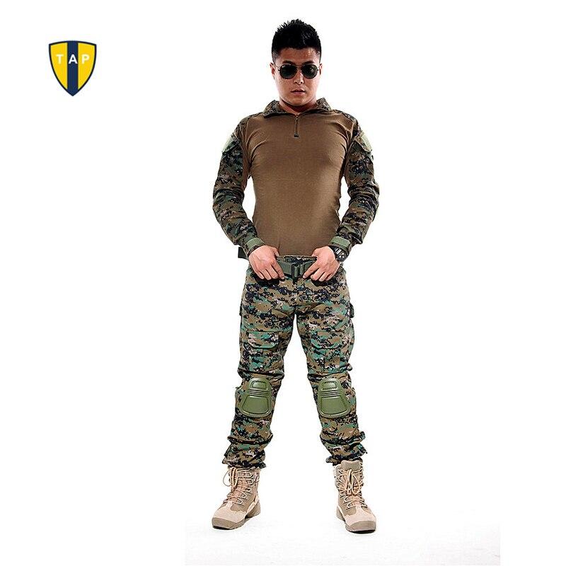 NOUS Tactique Camouflage Armée Costume Uniforme Militaire Combat Shirt Multicam Militar Chemises Genou Pad Pantalon Paintball Vêtements de Chasse