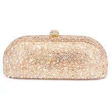 LaiSC Champagne Evening Clutch Bag Crystal Party Purse Female Chain Bag Luxury Rhinestone Wedding Bag Bridal