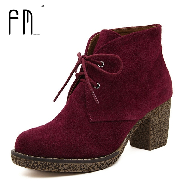 5 Colors Women Platform Ankle Boots Round Toe Lace-Up Winter Shoes Woman Genuine Leather Boots Ladies Autumn Boots Size 35-42
