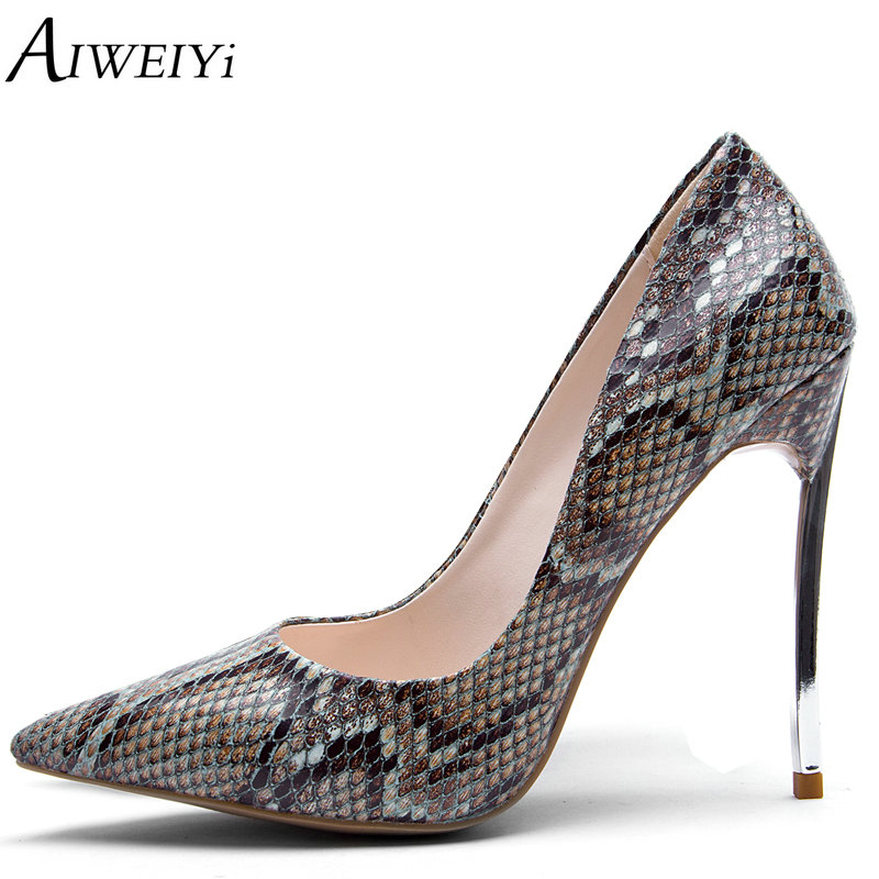AIWEIYi Women Pumps 2018 Women's Basic Shoes Snake Print Pointed Toe Stiletto Heels Metal Heel Slip On Ladies Party Dress Shoes цена 2017