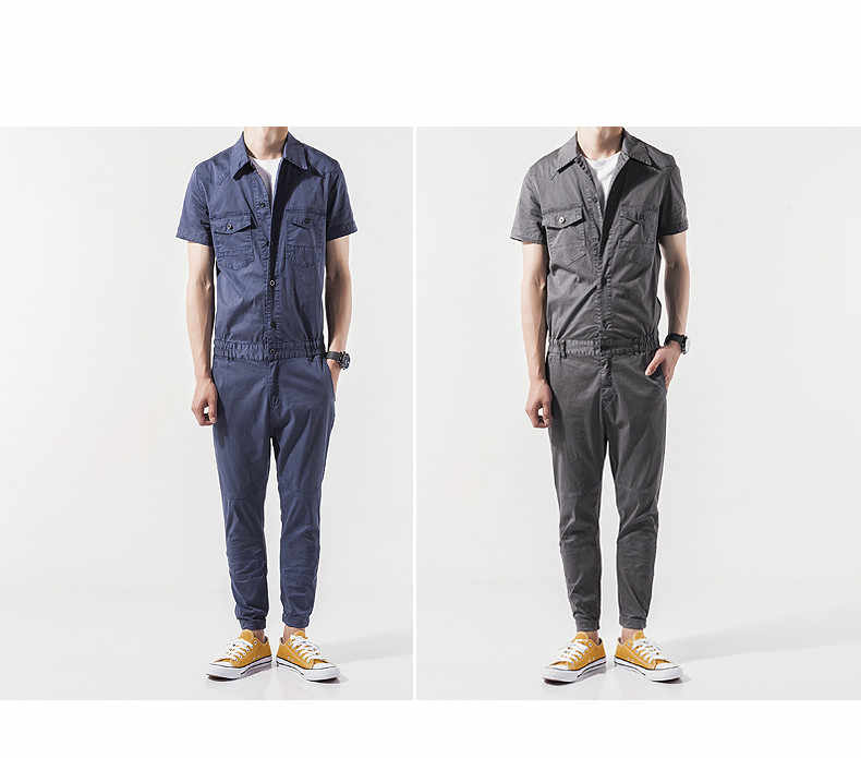e0d354ce099a ... Helisopus Men s Overalls pants Blend Jumpsuits Short Sleeve Cargo Work  Pants Cool Hiphop Men Workwear Overalls ...