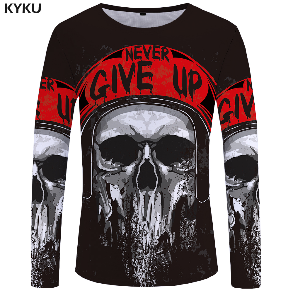 KYKU Brand Motorcycle Long sleeve   T     shirt   Skull Clothing Skeleton Tees Punk Tops Tshirt 3d   T  -  shirt   Men Rock Sexy Slim New
