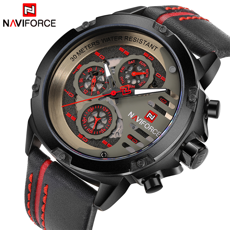 NAVIFORCE Luxury Brand Men's Sport Watches Men Leather Quartz Watch Waterproof Date Clock Military Wrist Watch relogio masculino xinge top brand luxury leather strap military watches male sport clock business 2017 quartz men fashion wrist watches xg1080