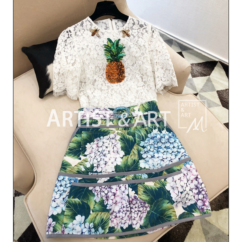 Svoryxiu Designer Summer White Lace T Shirts Women's Manual Beading Diamonds Pineapple Elegant Relief Lace Tops Tees